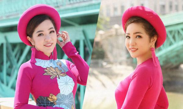 Diện áo dài Việt Hùng, Nghệ sỹ Thúy Nga khoe vẻ đẹp đằm thắm, dịu dàng