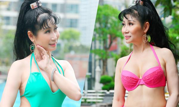 Nghệ sĩ Uyên Thảo diện bikini khoe thân hình nóng bỏng xóa tan cái nóng