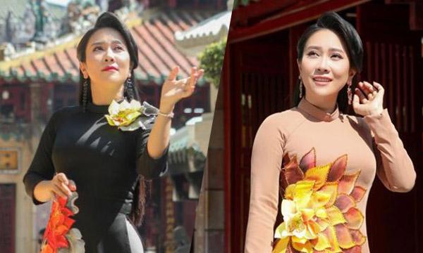 NSƯT Vân Khánh đẹp kiêu sa trong áo dài Việt Hùng bên ngôi đền cổ Sài Gòn