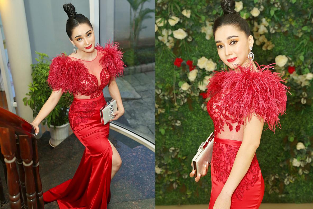 """Hoa hậu Đông Nam Á Hồng Tươi gây chú ý tại sự kiện với """"vòng eo con kiến"""""""