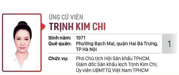 NSƯT Trịnh Kim Chi xuất sắc được ứng cử Đại biểu HĐND TP.HCM