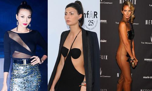 Sao Âu Á khoe cơ thể với váy khoét trong suốt