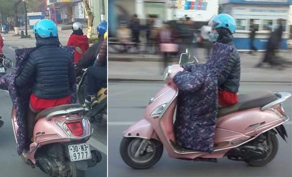 Tham gia giao thông dùng chăn bông cho ấm