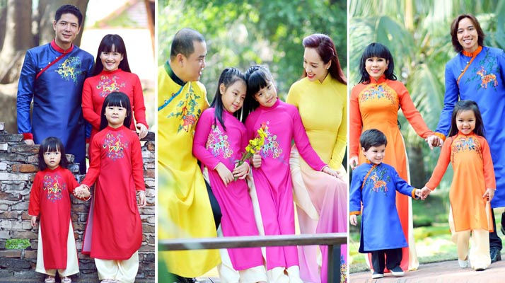 3 gia đình hạnh phúc của showbiz Việt rộn ràng diện áo dài đón Tết