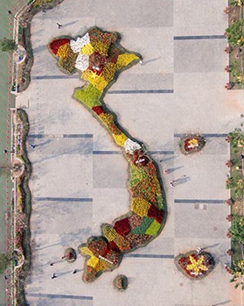 Chiêm ngưỡng bản đồ Việt Nam bằng hoa lớn nhất bên sông Hàn