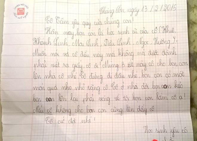 Lá thư 'xin xỏ' đáng yêu của học trò cũ gửi cô giáo