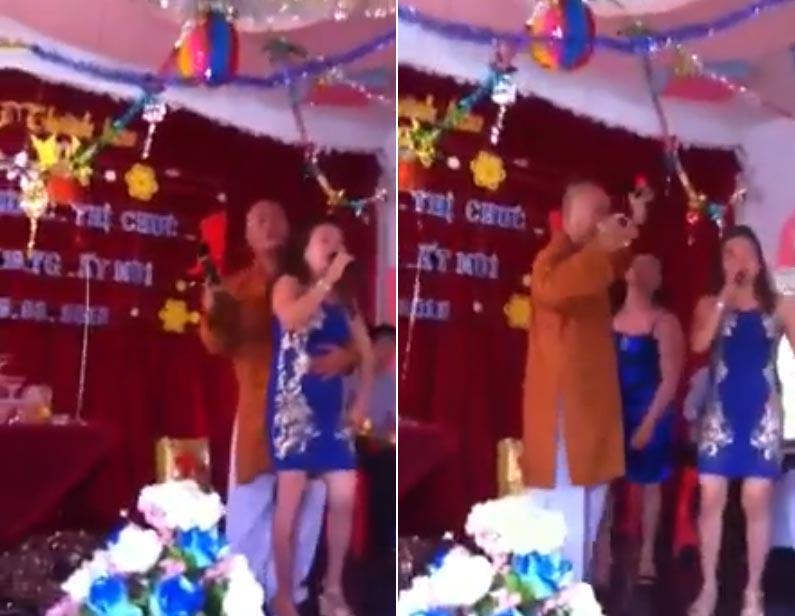 Dân mạng choáng với clip 'sư thầy hát Chim Trắng Mồ Côi' remix cùng girl