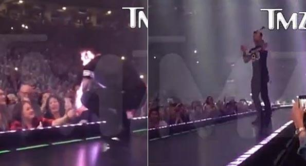 Adam Levine vô tình ném mic u đầu fan nữ