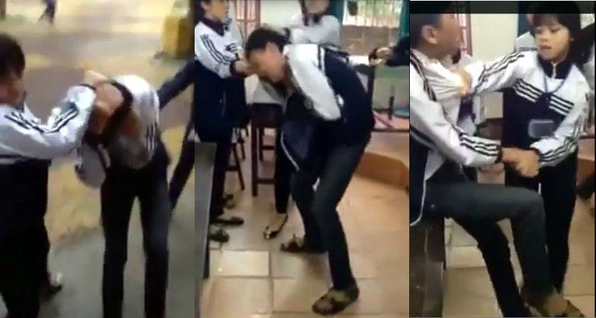 Xôn xao clip nữ sinh tát liên tiếp bạn trai ở lớp học