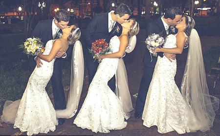 """Chị em """"sinh 3"""" kết hôn cùng ngày khiến các chú rể hoang mang vì sợ nhầm lẫn"""