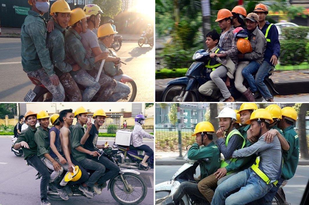 Những pha 'làm xiếc' với xe máy trên đường phố