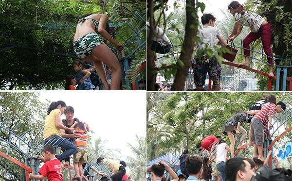 Vỡ trận công viên nước: Nam nữ thi nhau vượt rào sắt, nhiều người rách cả nội y