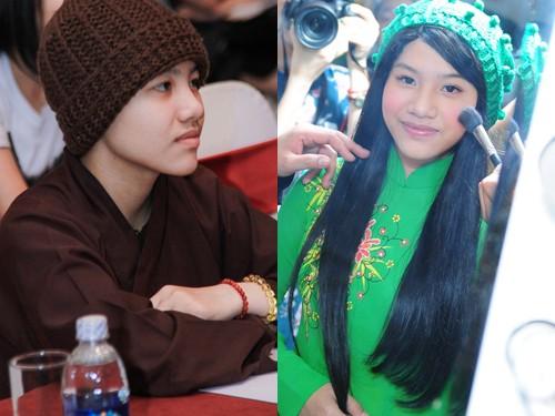 Con gái nuôi Quang Lê khác lạ khi lần đầu mang tóc giả