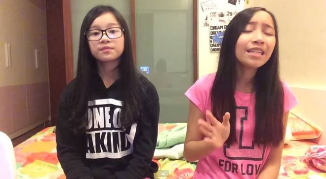 Hai con Mỹ Linh gây chú ý khi cover hit tiếng Anh