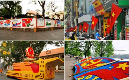Hà Nội và Sài Gòn rực rỡ cờ hoa trong những ngày tháng Tư lịch sử