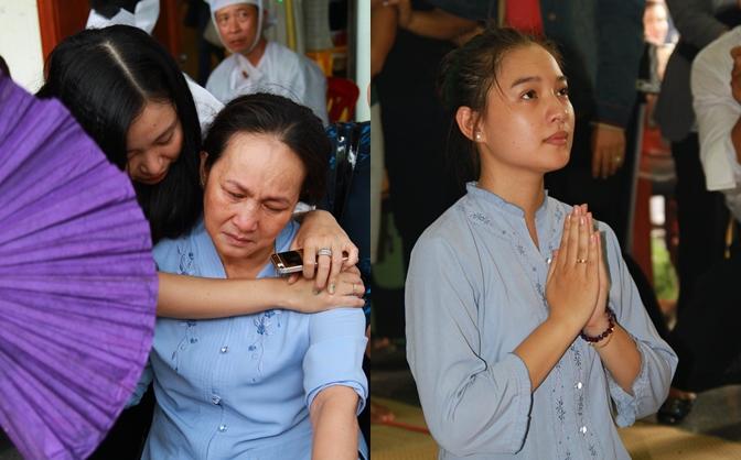 Xót xa hình ảnh vợ và người thân của Duy Nhân trong đám tang