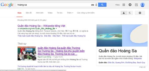 Google bỏ ghi quần đảo Hoàng Sa thuộc một tỉnh của Trung Quốc