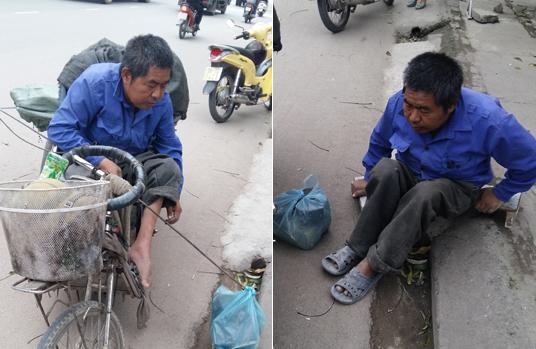 Người đàn ông ngồi xe lăn nhặt rác nuôi cha già 80 tuổi