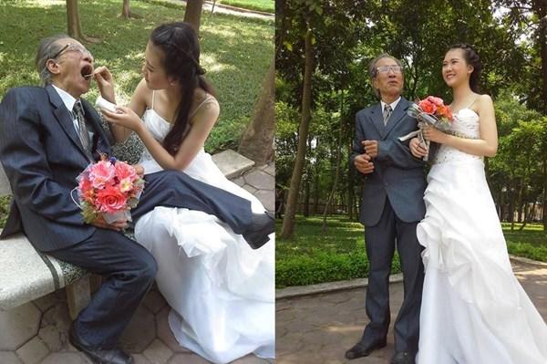 Xôn xao ảnh cưới cụ ông và cô gái trẻ như học sinh