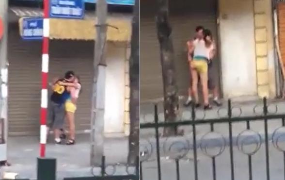 Sốt clip cặp đôi diễn cảnh nóng trên phố Hà Nội giữa ban ngày