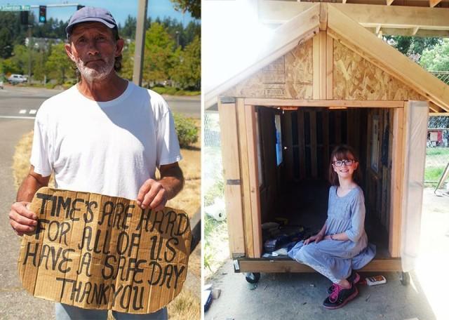 Bé gái 9 tuổi tự làm nhà và trồng thực phẩm cho người vô gia cư