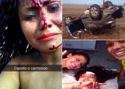 """Cô gái vẫn tranh thủ """"tự sướng"""" sau vụ tai nạn đẫm máu gây choáng"""