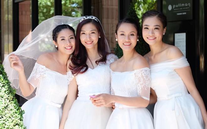 Hoa hậu Ngọc Hân làm phù dâu cho siêu mẫu Thúy Hương