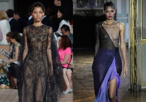 Mốt 'khoe ngực trần' được lăng xê ở tuần thời trang Paris