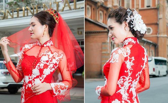 Cô dâu lộng lẫy với mẫu áo dài cưới voan đỏ ren trắng Tommy Nguyễn