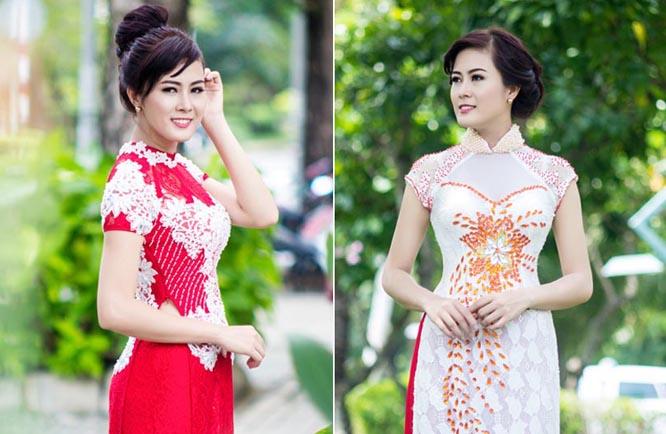 Hoa khôi Bảo Ngọc nổi bật với áo dài cưới trắng đỏ Tommy Nguyễn