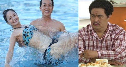 Hoàng Mập nhăn mặt khi Lan Phương - Hòa Hiệp thân mật ở bể bơi