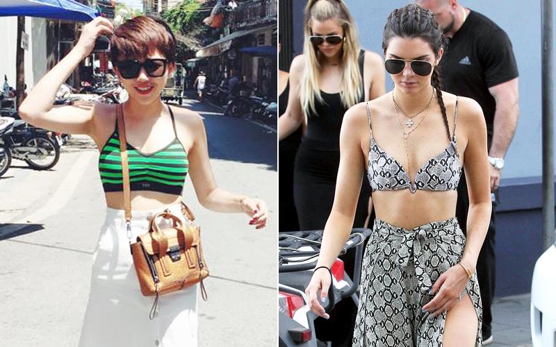 """Tóc Tiên cùng Kendall Jenner """"đua nhau"""" diện áo ngực ra phố"""
