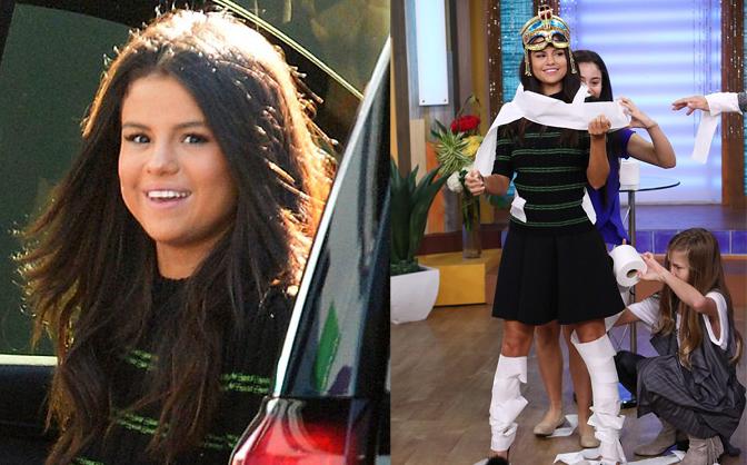 Selena Gomez lộ mặt béo, để fan quấn giấy vệ sinh khắp người