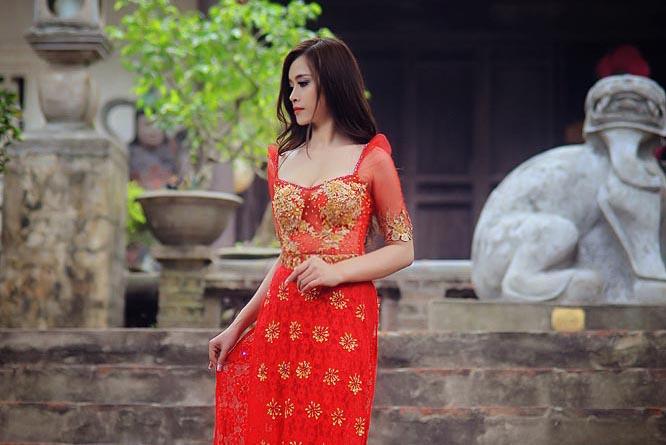Nữ hoàng Đặng Hà Vy đài các với Áo dài cưới Tommy Nguyễn