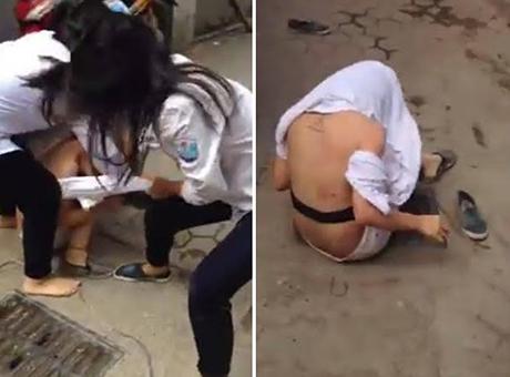 Lại xuất hiện clip nữ sinh đánh nhau, lột áo bạn