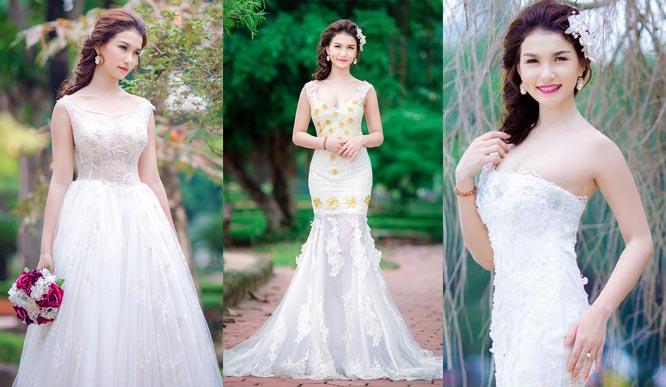 Diễm Trinh khoe dáng với váy cưới đuôi cá của Áo cưới Tommy Nguyễn