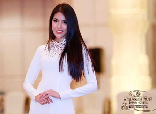 Lan Khuê thướt tha áo dài ở Hoa hậu Thế giới