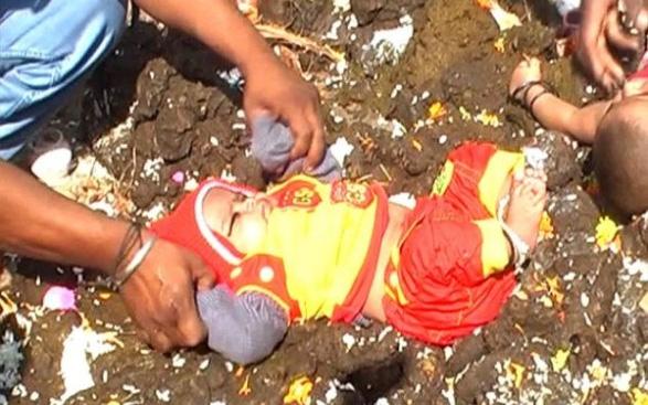 Tập tục lăn trẻ em trong phân bò tại Ấn Độ gây tranh cãi dữ dội