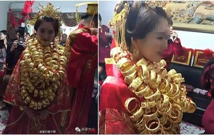 """Cô dâu suýt """"gãy cổ"""" vì đeo quá nhiều vàng"""
