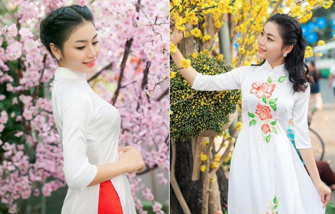 Ánh Minh thướt tha áo dài trắng du xuân