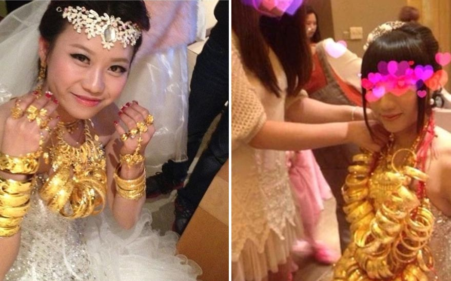 Những cô dâu vàng chỉ chực gãy cổ vì đeo quá nhiều của hồi môn trên người