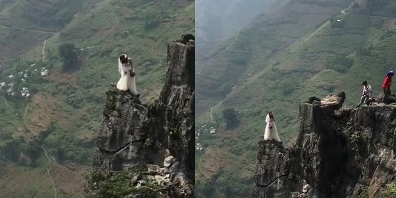 Pha chụp ảnh cưới cheo leo trên vách đá khiến người xem hoảng hồn