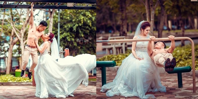 """""""Kinh ngạc"""" với ảnh cưới thể dục đường phố của cặp đôi Hà thành"""