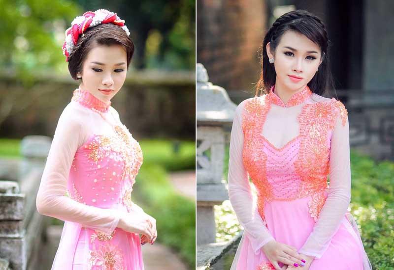 Thanh Trang xinh tươi với sắc hồng của áo dài cưới Tommy Nguyễn