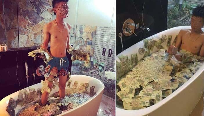 """""""Cạn lời"""" với thanh niên Việt tắm trong bồn nước đầy tiền"""