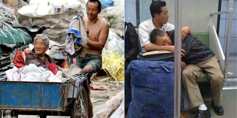 Những bức ảnh thể hiện lòng hiếu thảo lay động trái tim