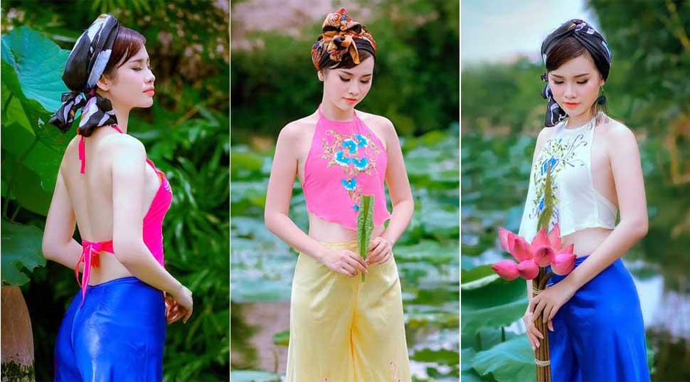 """Thanh Trang hóa thân làm """"cô thôn nữ"""" sexy với áo yếm"""