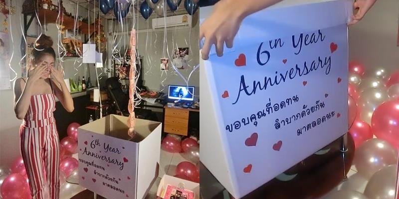 Kỉ niệm 6 năm bên nhau, chồng tặng vợ một thùng tiền