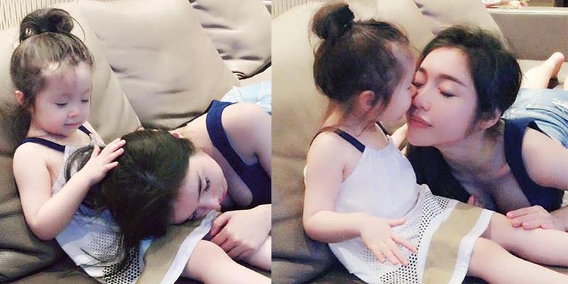 Bình yên trước hình ảnh cực yêu Cadie dỗ mẹ Elly Trần ngủ