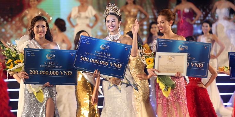 Thu Ngân đăng quang Hoa hậu Bản sắc Việt Toàn cầu 2016